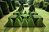 TOPIARY GARDEN BASED ON EUCLIDEAN GEOMETRY,  IN YEW (TAXUS BACCATA) AND BOX (BUXUS SEMPERVIRENS).