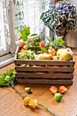Apples, Pears and Physalis in a wooden box