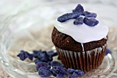 MUFFIN WITH GLAZED VIOLETS