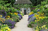 BLUE AND YELLOW HERBACEOUS BORDER